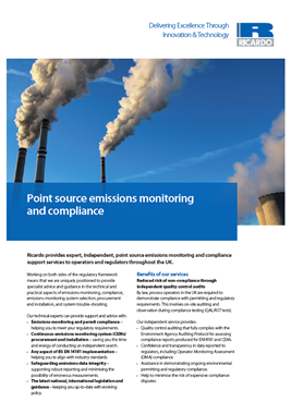 Point source emissions monitoring and compliance