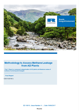 Methodology to assess methane leakage from AD plants - Part 1