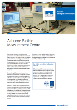 Airborne particle measurement centre capability statement