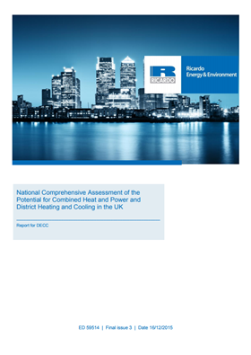 National Comprehensive Assessment of the Potential for Combined Heat and Power and District Heating and Cooling in the UK